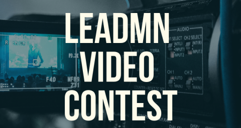 "Blurry video camera lens with text ""LeadMN Video Contest"""