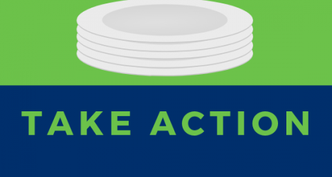"picture of plates over text ""Take Action"""