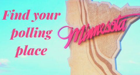 "Picture of Minnesota welcome sign into state with text ""Find your polling place"""