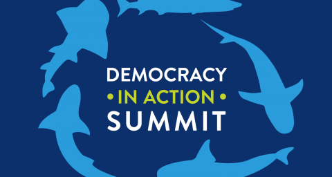 "Sharks in a circle around the text ""Democracy in Action Summit"""