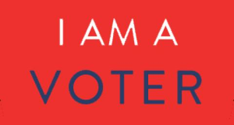"Red background with text ""I am a Voter"""