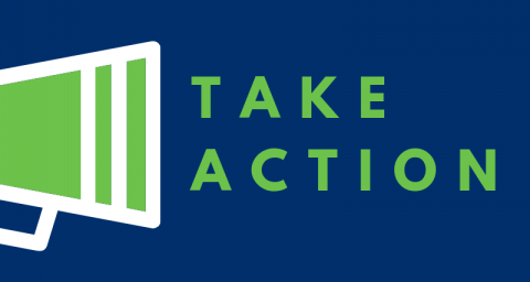 "mega phone with text ""Take action"""