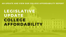Green filter over a photo of the MN state capitol. Text: Legislative Update: College Affordability. An update and view our college affordability report.