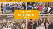 "Four photos from the 12th Annual Scholarship Gala with text ""We raised $15,000 for scholarships! Thank you to everyone that donated."""