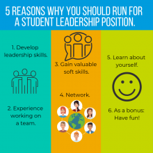 5 reasons why you should run for a student leadership position graphic