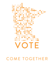 Minnesota created with dots, text: Vote - Come Together