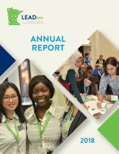 2018 LeadMN Annual Report cover - LeadMN logo in the upper left corner with two pictures of groups of students at conferences.