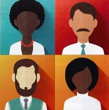 Four clip art people on different colored background.