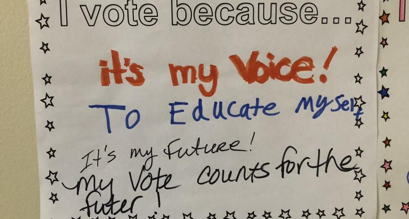 I vote because... it's my voice! To educate myself. It's my future! My vote counts for the future!