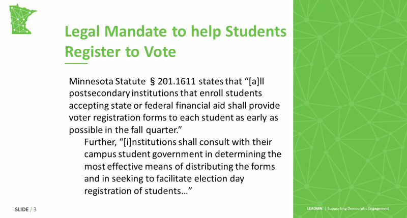 Legal Mandate to help StudentsRegister to Vote
